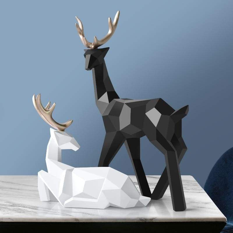 Deer sculpture - black and white - home decor 3