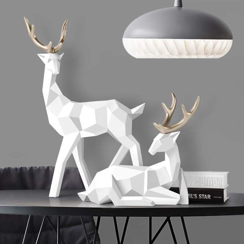 Deer sculpture - white - home decor 3