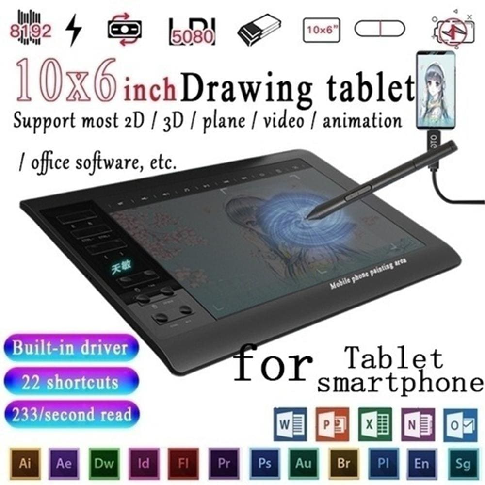 Digital drawing tablet - black - electronics devices