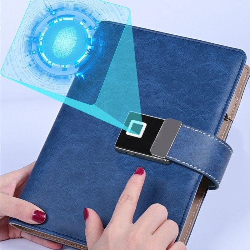 Fingerprint lock smart notebook - blue - business