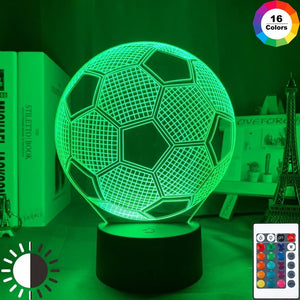 Football 3d led night light - 16 color with remote -