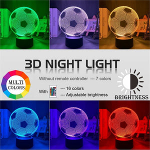 Football 3d led night light - illusion lamp