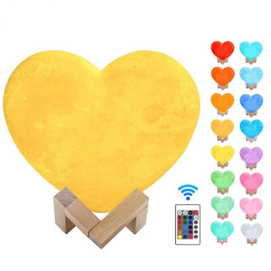 Heart 3d printed moon night light - 16 colors remote / 15cm