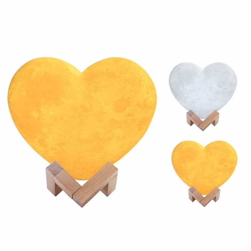 Heart 3d printed moon night light - 2 colors touch / 15cm -
