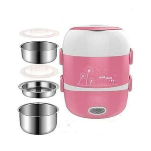 Meal cooker lunch box - pink 3 layers 220v - kitchen