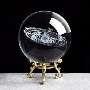 Solar system crystal ball 3d - with gold base / 6cm - home