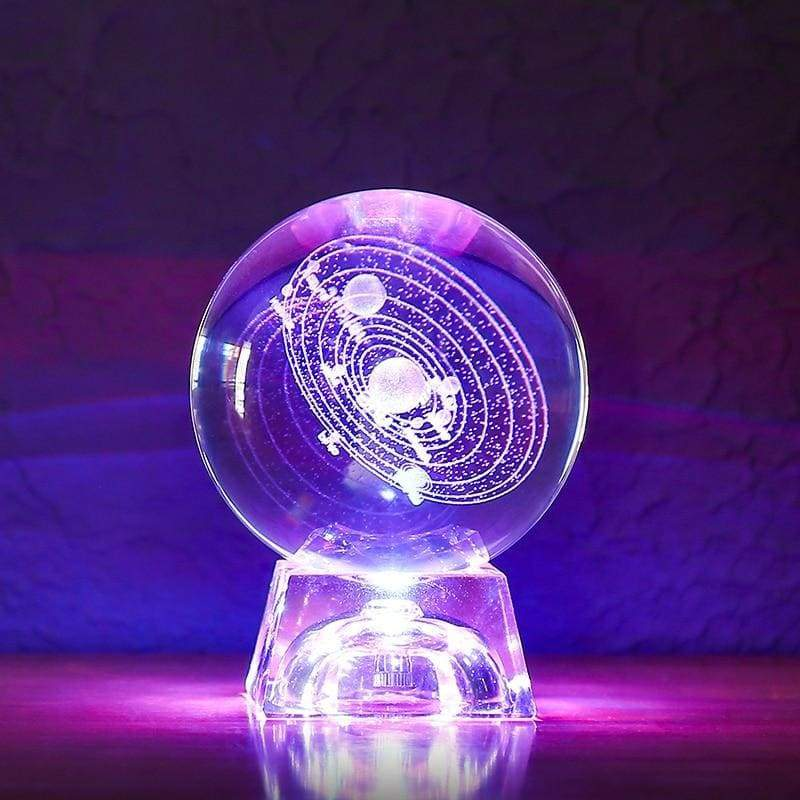 Solar system crystal ball 3d - with light base / 6cm - home
