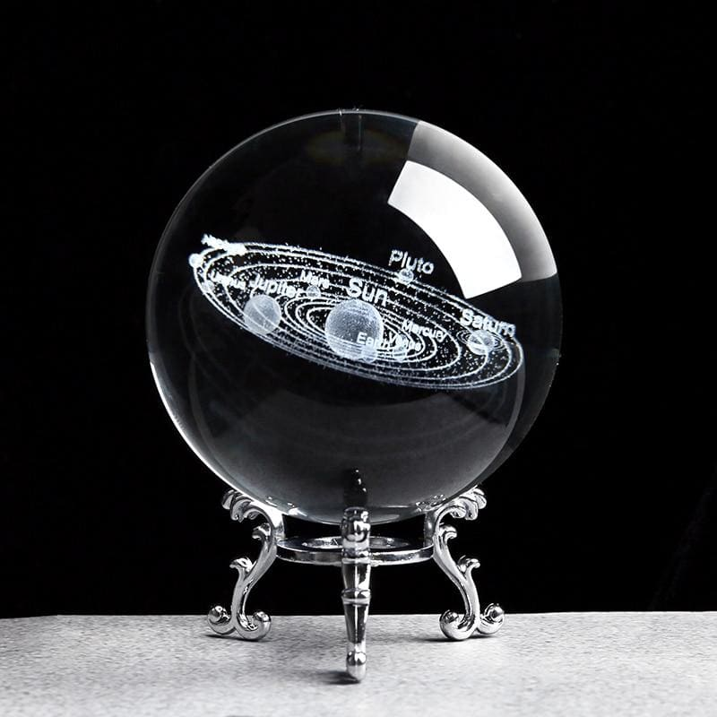 Solar system crystal ball 3d - with silver base / 6cm - home