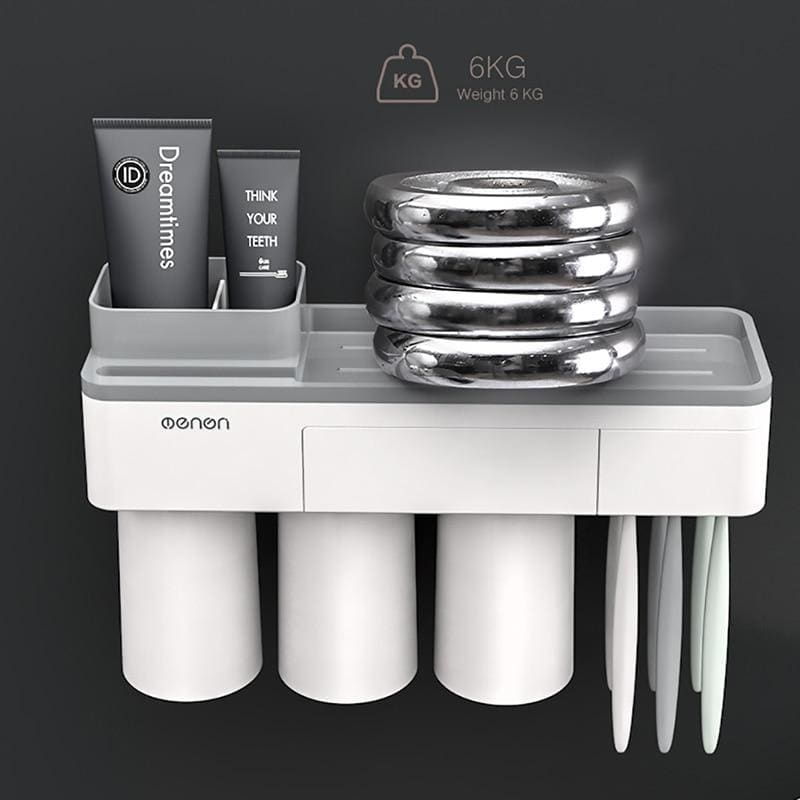 Toothbrush holder and toothpaste squeezer - bathroom