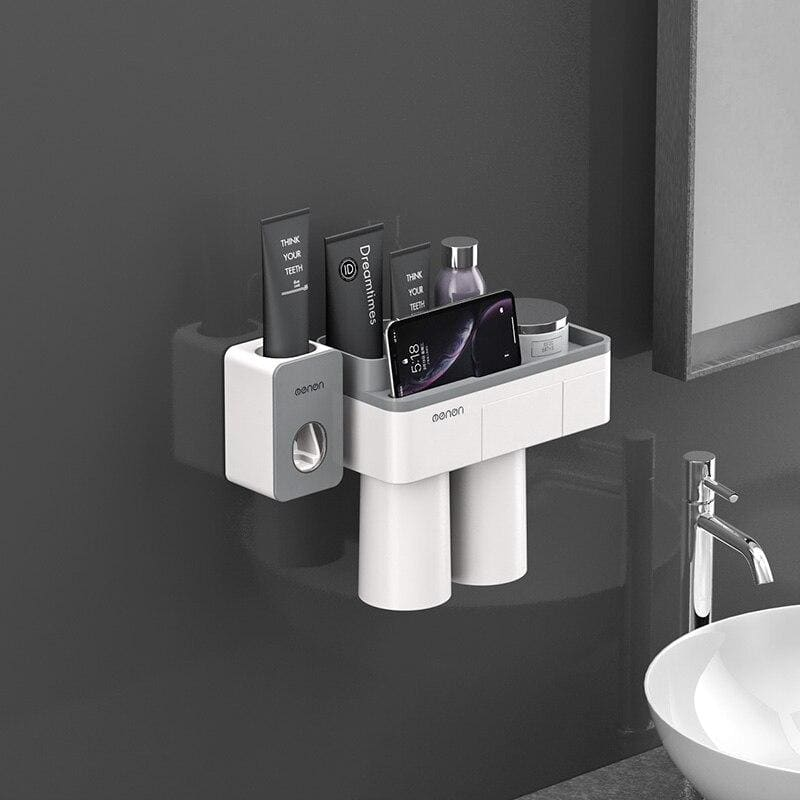 Toothbrush holder and toothpaste squeezer - gray 2 cups sets