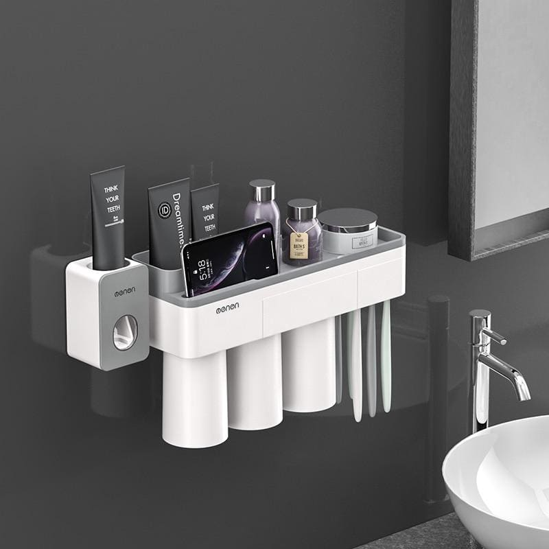 Toothbrush holder and toothpaste squeezer - gray 3 cups sets