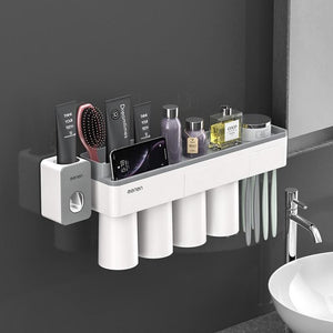 Toothbrush holder and toothpaste squeezer - gray 4 cups sets