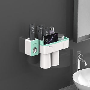 Toothbrush holder and toothpaste squeezer - green 2 cups