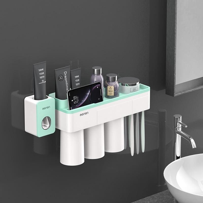 Toothbrush holder and toothpaste squeezer - green 3 cups