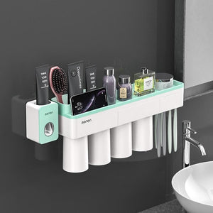 Toothbrush holder and toothpaste squeezer - green 4 cups