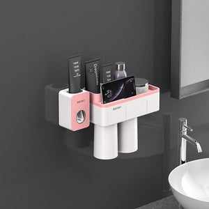 Toothbrush holder and toothpaste squeezer - pink 2 cups sets