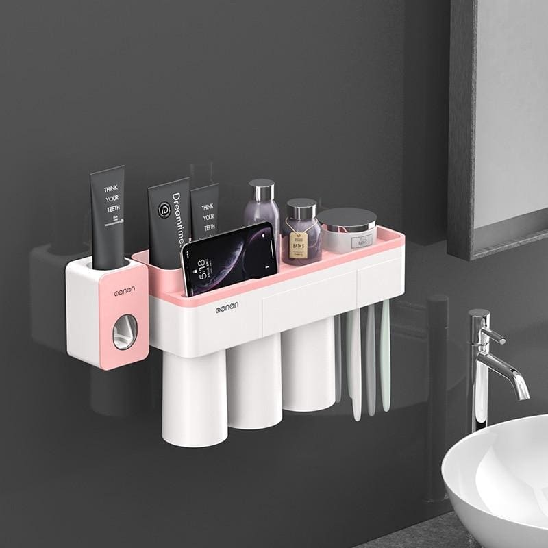 Toothbrush holder and toothpaste squeezer - pink 3 cups sets