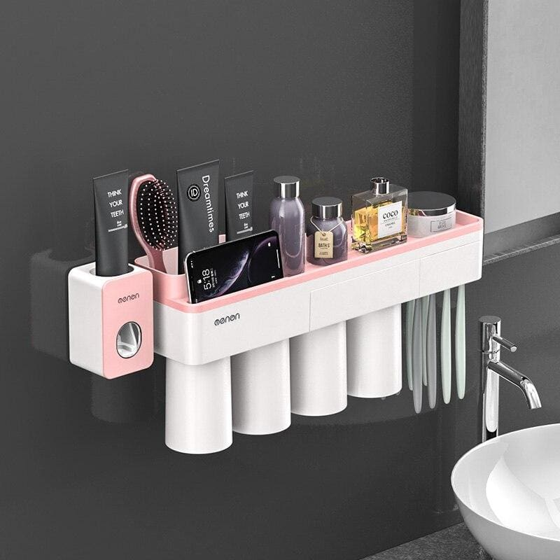 Toothbrush holder and toothpaste squeezer - pink 4 cups sets
