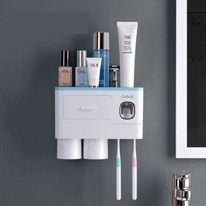 Toothpaste dispenser and toothbrush holder - 2 cup blue -