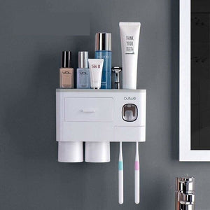 Toothpaste dispenser and toothbrush holder - 2 cup grey -