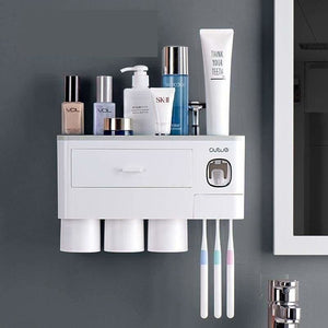 Toothpaste dispenser and toothbrush holder - 3 cup grey -