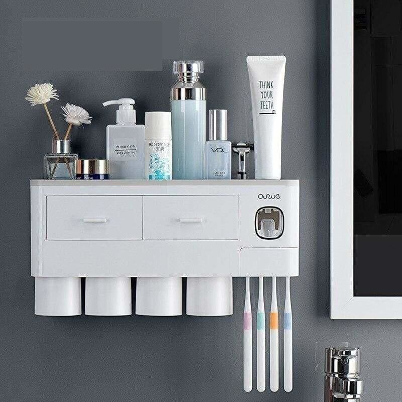 Toothpaste dispenser and toothbrush holder - 4 cup grey -