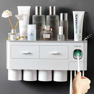 Toothpaste dispenser and toothbrush holder - bathroom