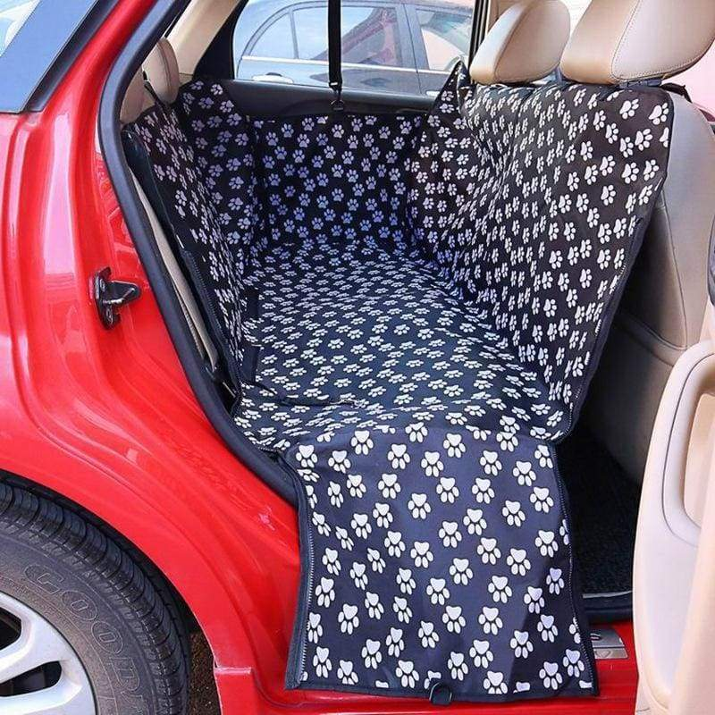 Waterproof dog car seat cover - black footprint /