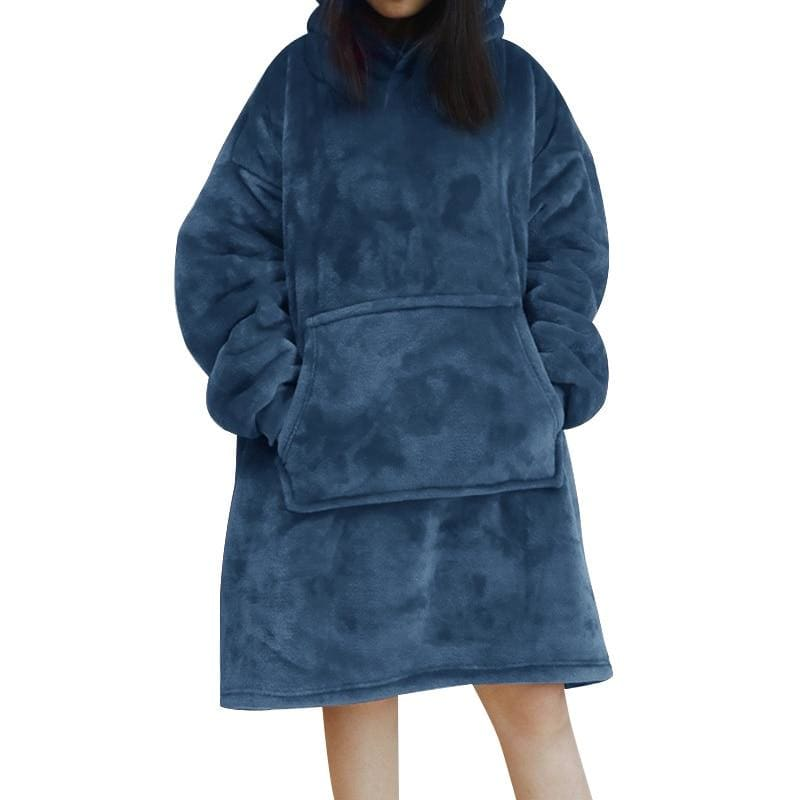 Wearable blanket for all - blue - blankets