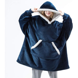 Wearable blanket for all - fur blue - blankets