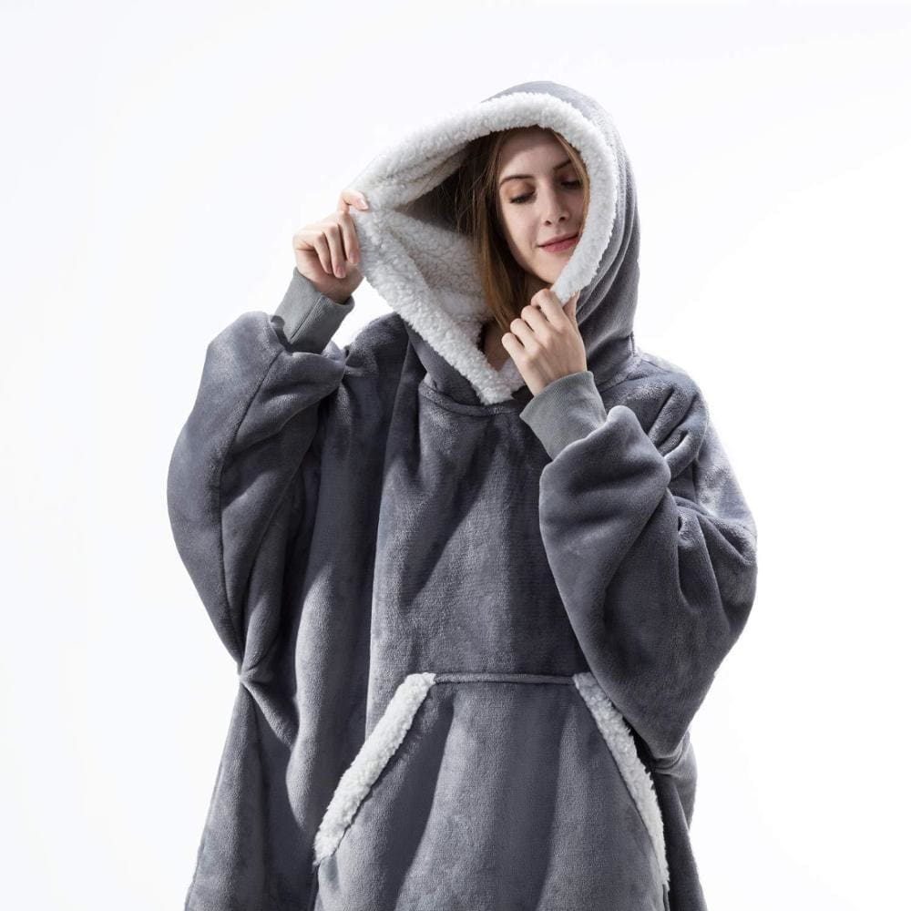 Wearable blanket for all - fur gray - blankets
