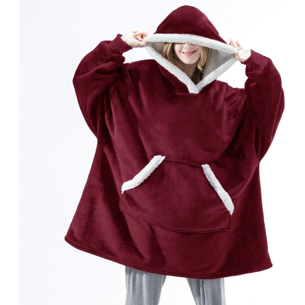 Wearable blanket for all - fur red - blankets