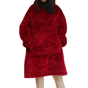 Wearable blanket for all - red - blankets