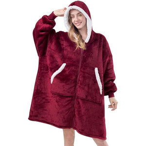 Wearable blanket for all - zip red - blankets