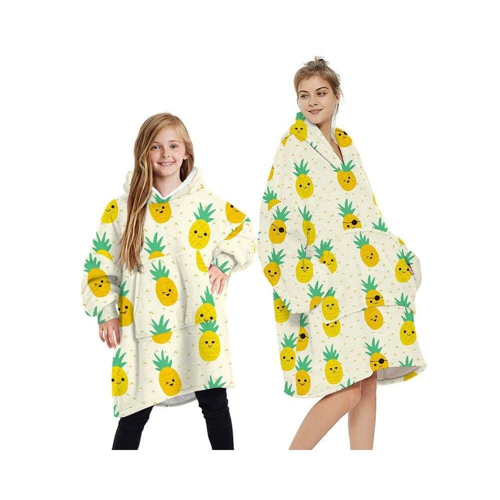 Wearable blankets printed - pineapple yellow / kids