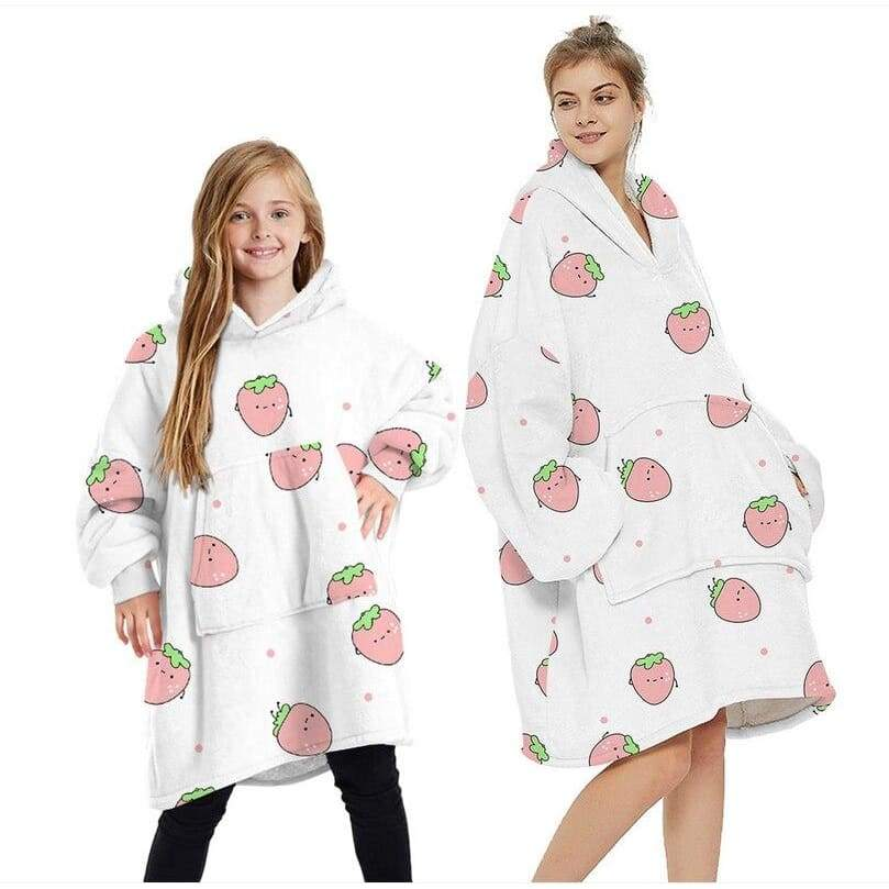 Wearable blankets printed - strawberry pink / kids