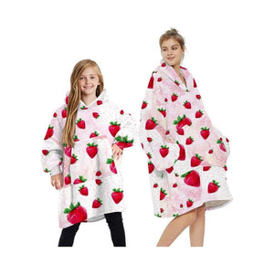 Wearable blankets printed - strawberry red / kids