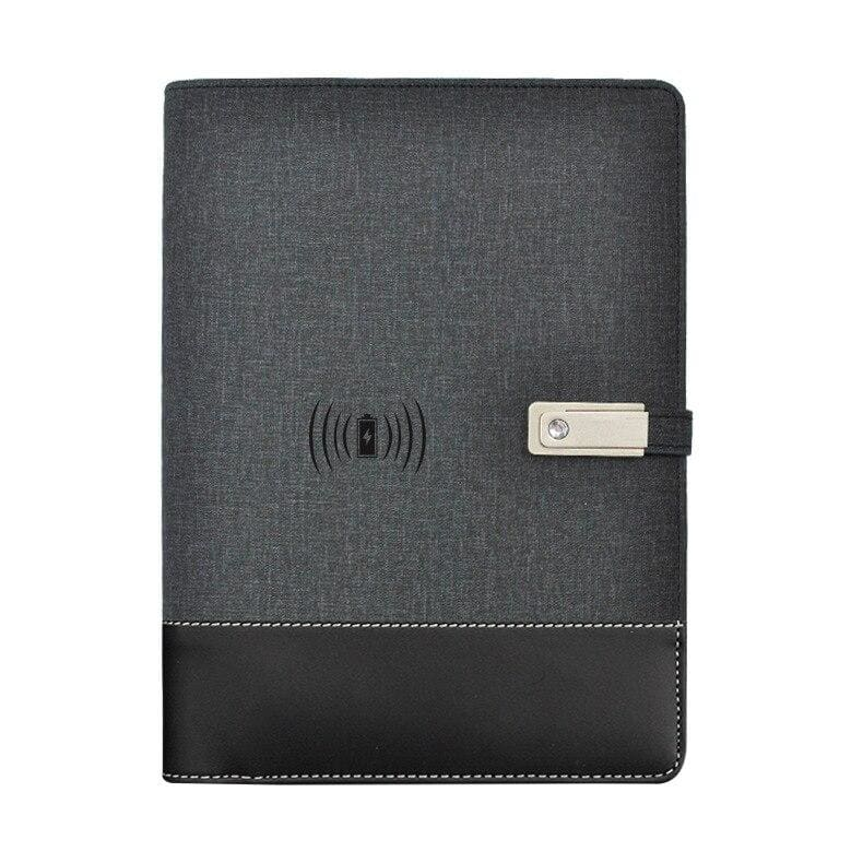 Wireless phone charging notebook - black / a5 - business