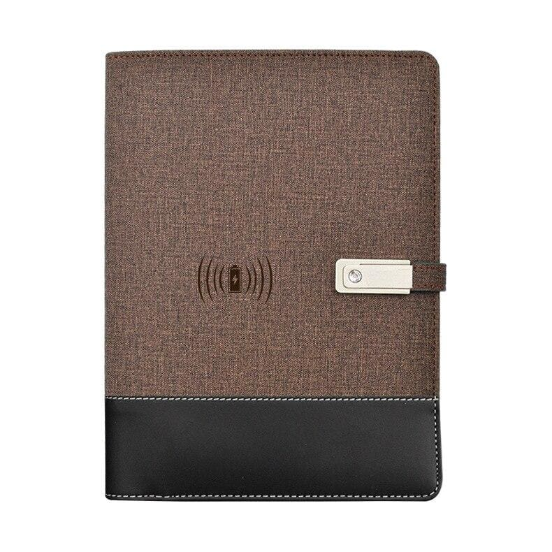 Wireless phone charging notebook - brown / a5 - business