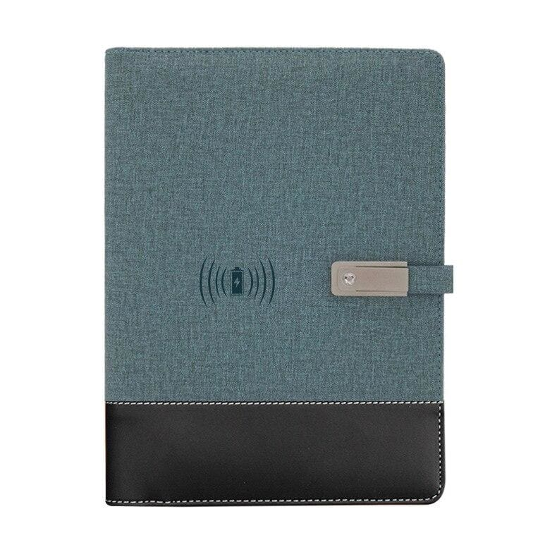 Wireless phone charging notebook - gray-blue / a5 - business