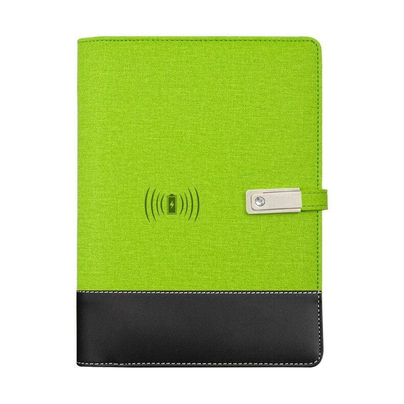 Wireless phone charging notebook - green / a5 - business