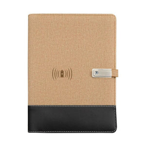 Wireless phone charging notebook - khaki / a5 - business