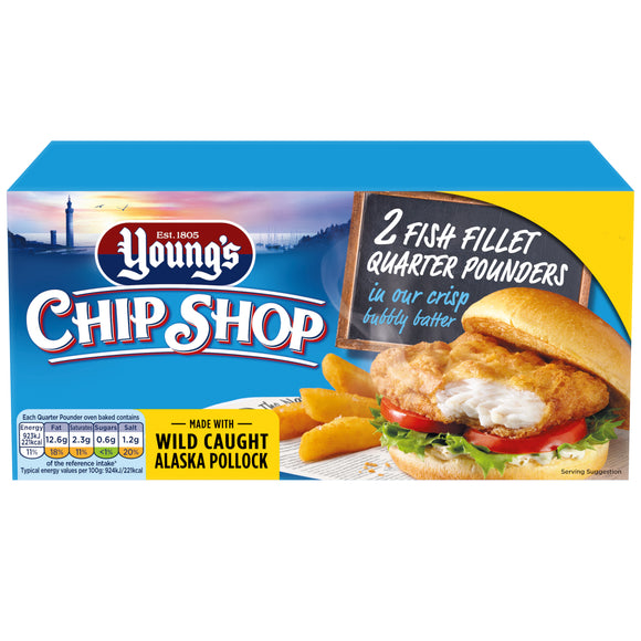 UK Young's C S Fish Fillet Quarter Pounders in Bubbly Batter 227g
