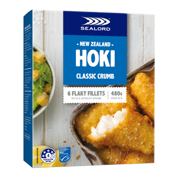 New Zealand Sealord Hoki Classic Crumbed 480g