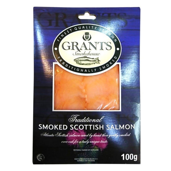 Scottish Grants Smoked Salmon Skinless Sliced 100g