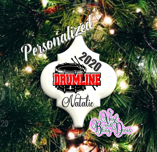 Drumline Ceramic Ornament Personalized with Cursive Letters