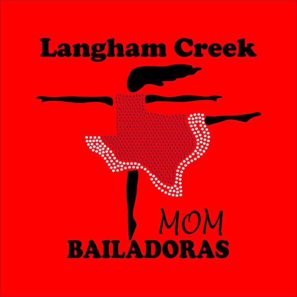 LCHS Bailadoras Skirt Logo Mom SPANGLE Shirt Red Option