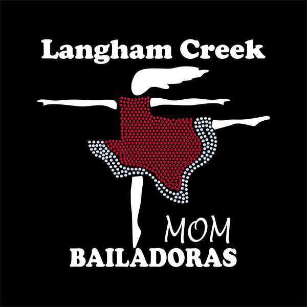LCHS Bailadoras skirt logo Mom SPANGLE Shirt with optional name on back