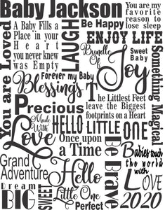 Precious Baby Words Canvas Collage Digital File - Baby Shower Gift - Add your own Baby Name - Customize