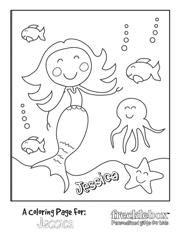 mermaid friends coloring page